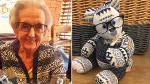 Elle fabrique un ours en peluche avec le vêtement de votre proche défunt